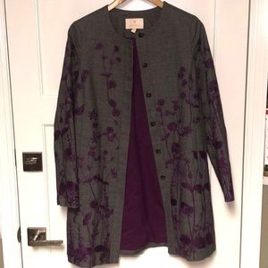 Etcetera Car Coat with Floral Patterns Size 4